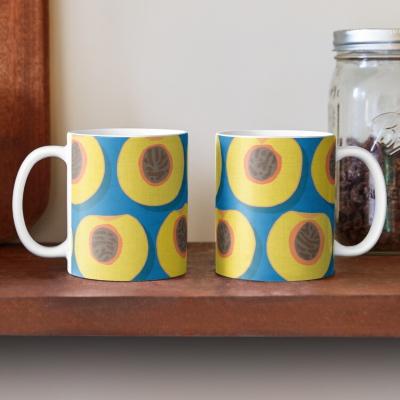 peach polka blue redbubble coffee mug sharon turner