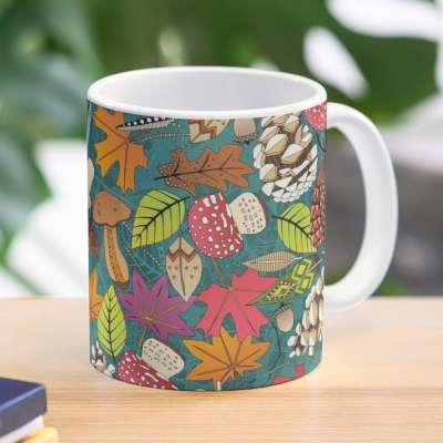 boho autumn teal redbubble coffee mug sharon turner