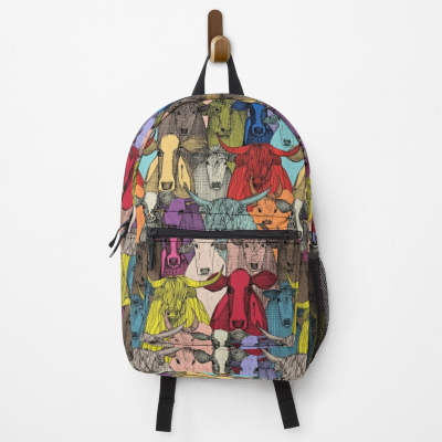 just cattle bright redbubble backpack bag sharon turner