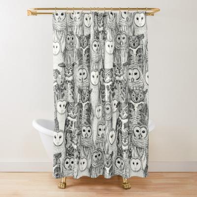 owls NC black redbubble shower curtain sharon turner