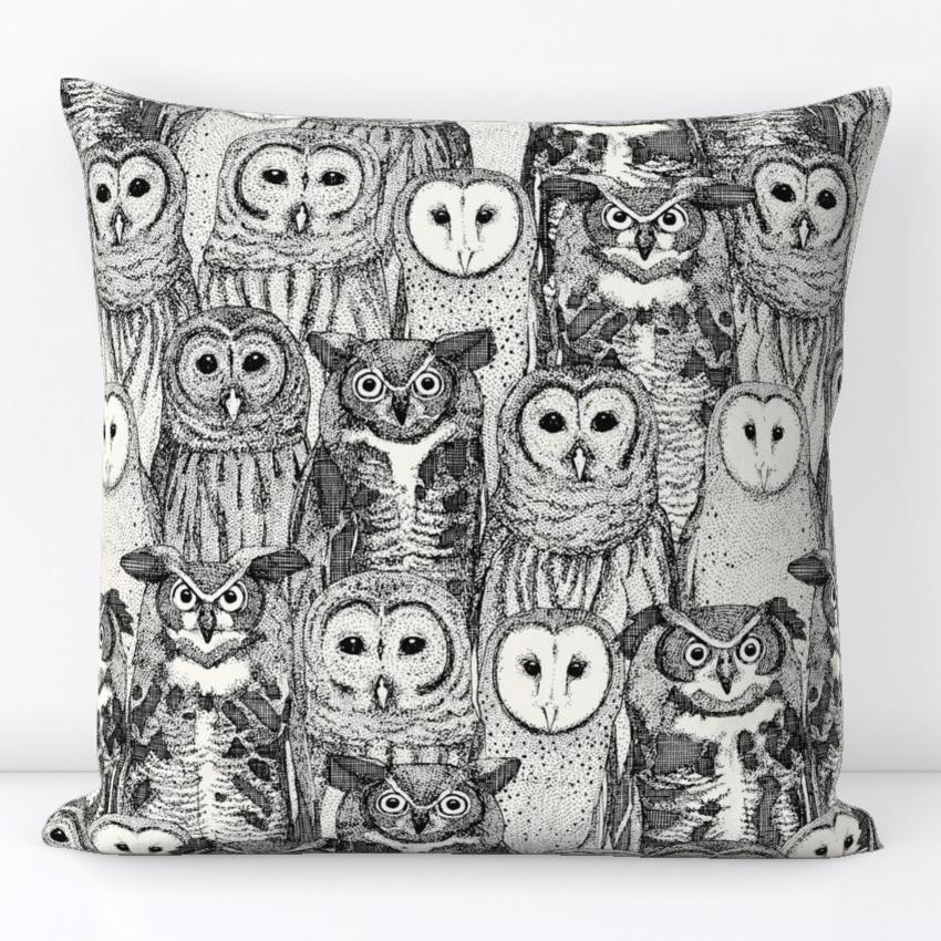 owls NC black spoonflower sharon turner scrummy