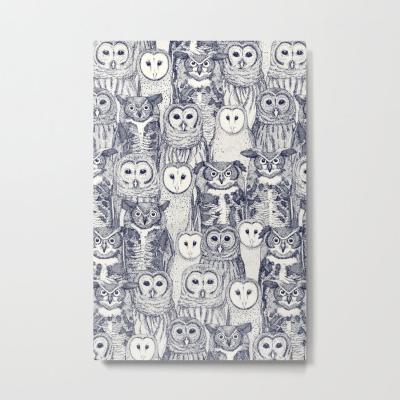 owls NC blue society6 metal print Sharon Turner