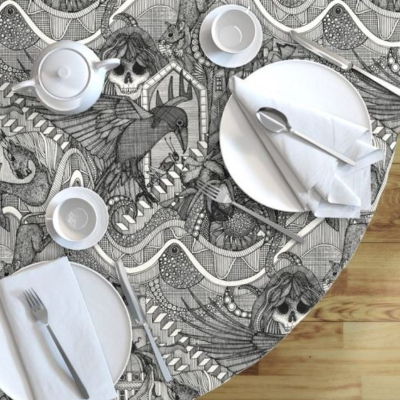 phantasmagoria black spoonflower table cloth sharon turner scrummy
