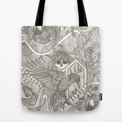 phantasmagoria charcoal brown tote bag society6 sharon turner