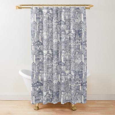 Christmas market toile blue redbubble shower curtain sharon turner