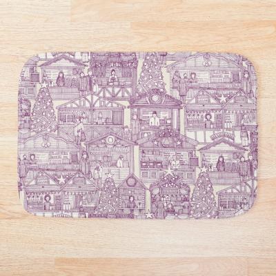 Christmas market toile purple redbubble bath mat sharon turner