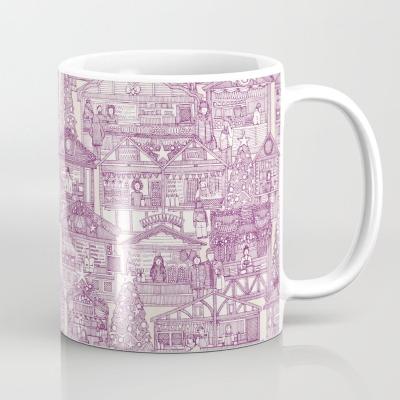 Christmas market toile purple society6 mug sharon turner