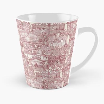 Christmas market toile red redbubble tall mug sharon turner