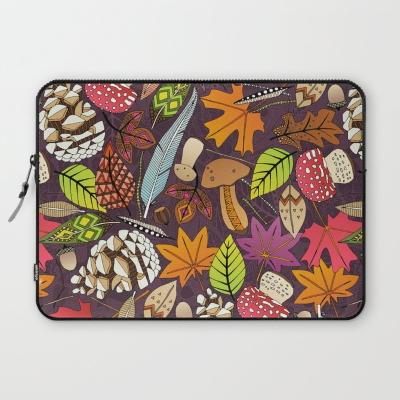 boho autumn cassis society6 laptop sleeve sharon turner