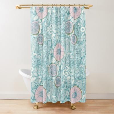 crops NC lagoon cotton candy mustard redbubble shower curtain sharon turner